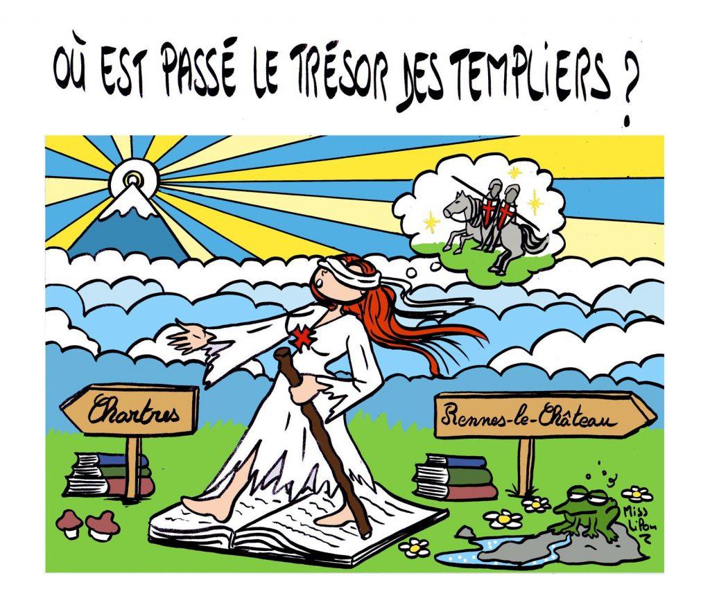 dessin presse humour trésor des Templiers image drôle Rennes-le-Château