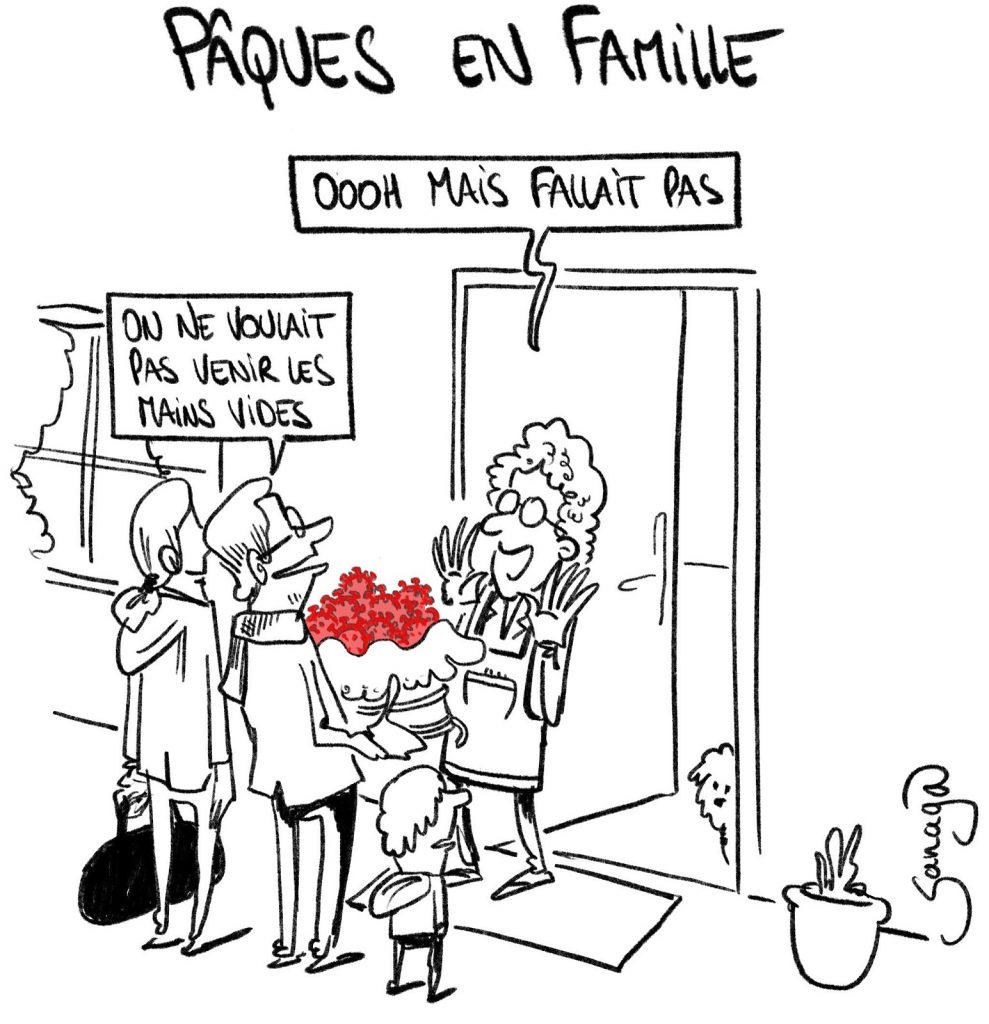 dessin presse humour coronavirus covid-19 image drôle Pâques famille