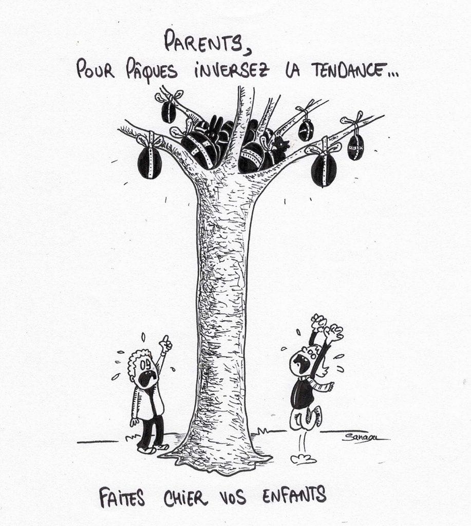 dessin presse humour fêtes Pâques image drôle enfants chasse œufs