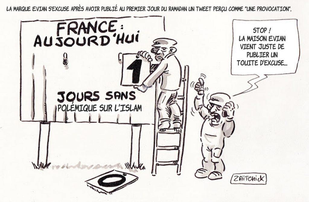 dessin presse humour Évian Ramadan image drôle tweet polémique