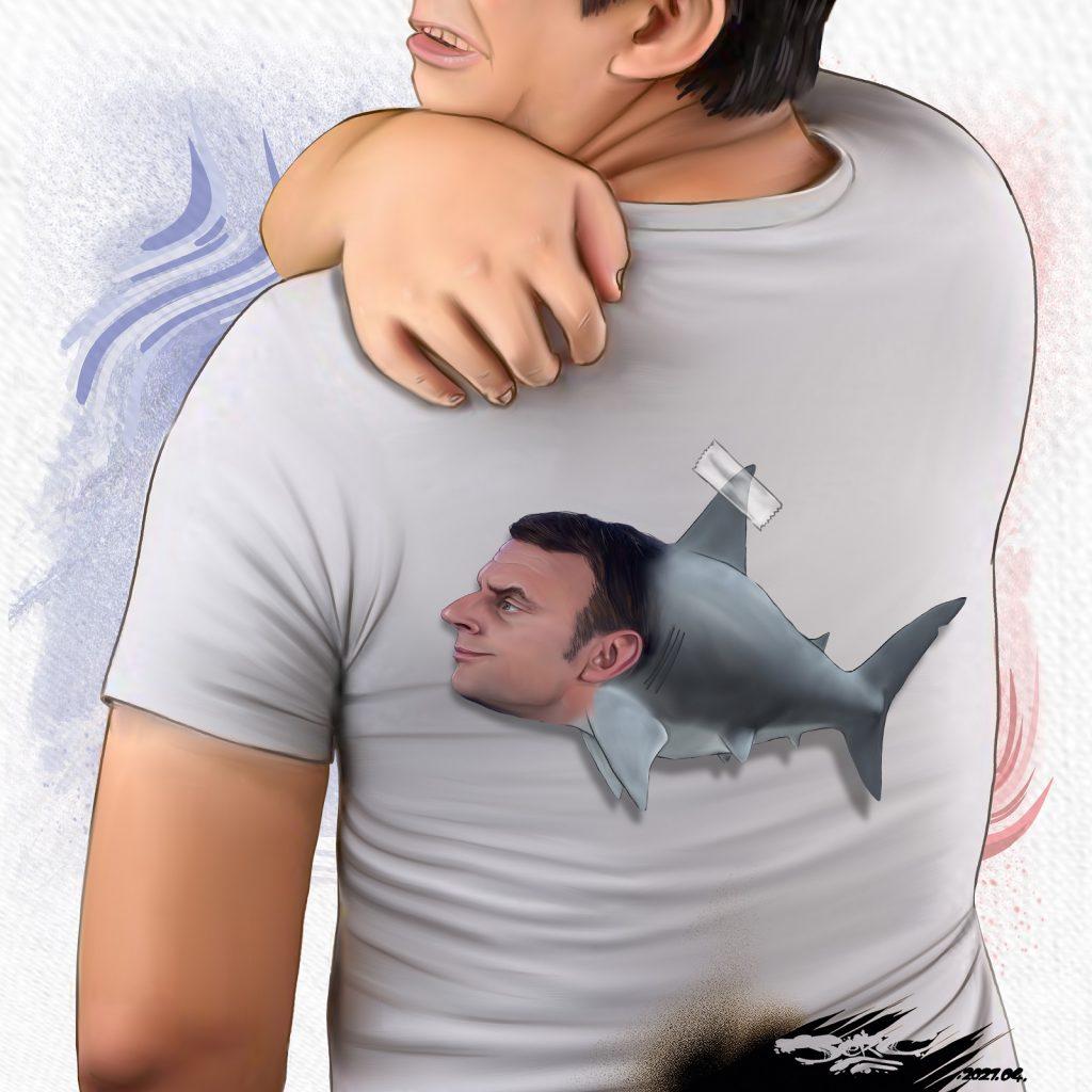 dessin presse humour Emmanuel Macron requin image drôle confinement poisson d'avril