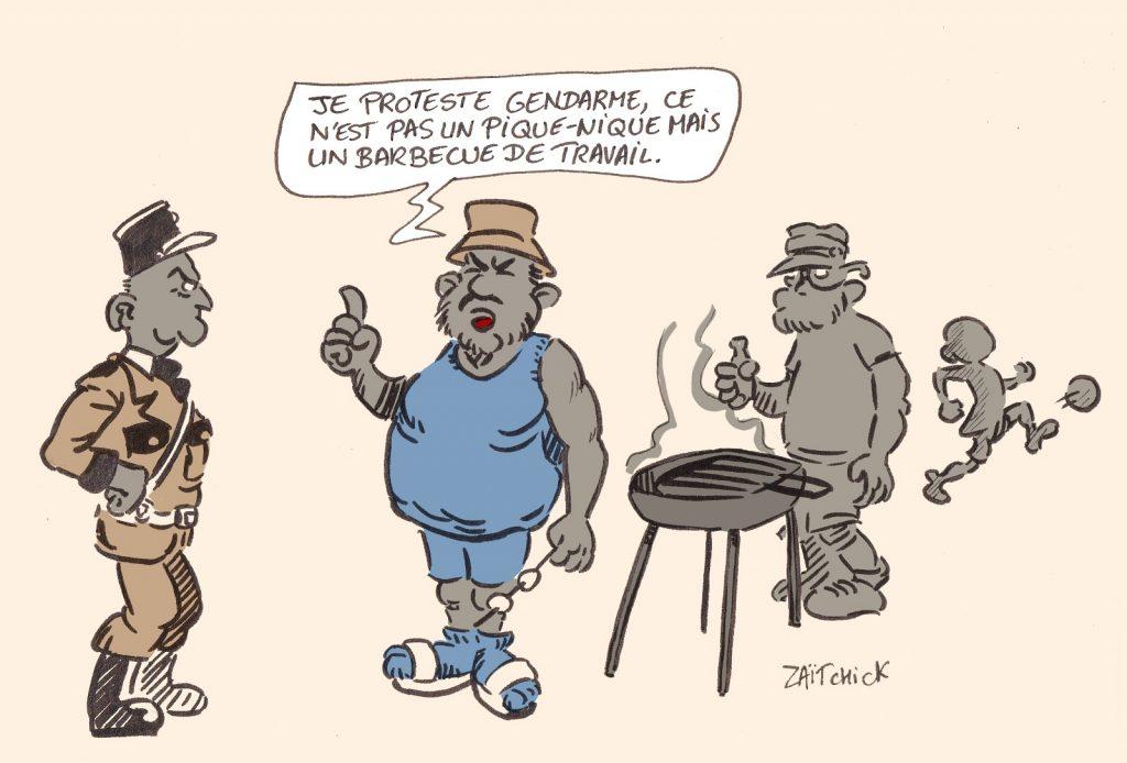 dessin presse humour coronavirus covid19 image drôle repas d'affaire barbecue Joëlle Garriaud-Maylam