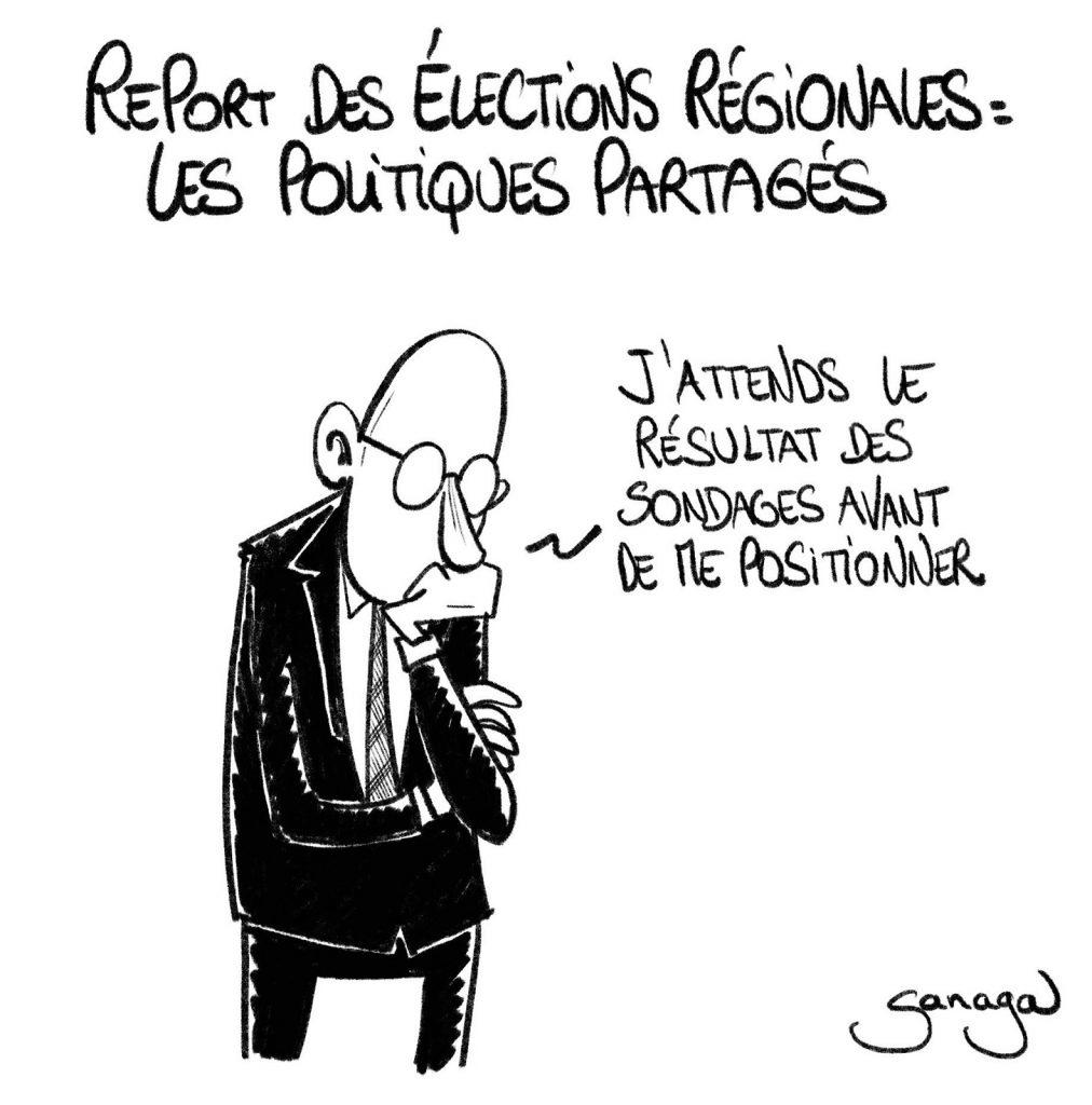 dessin presse humour coronavirus covid19 image drôle report élections régionales