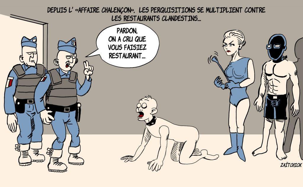 dessin presse humour coronavirus covid19 image drôle perquisition restaurants clandestins