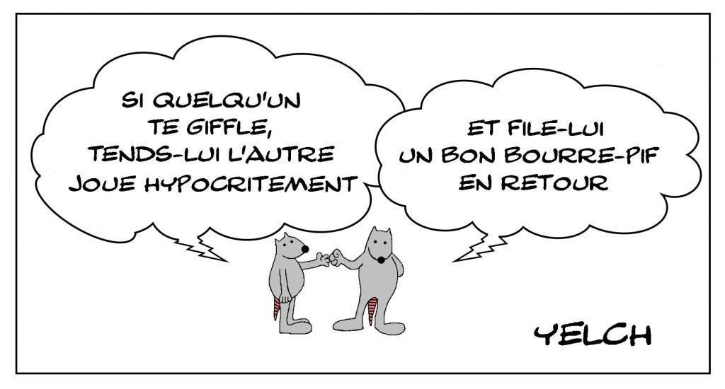 dessins humour violence hypocrisie image drôle gifle bourre-pif tendre autre joue