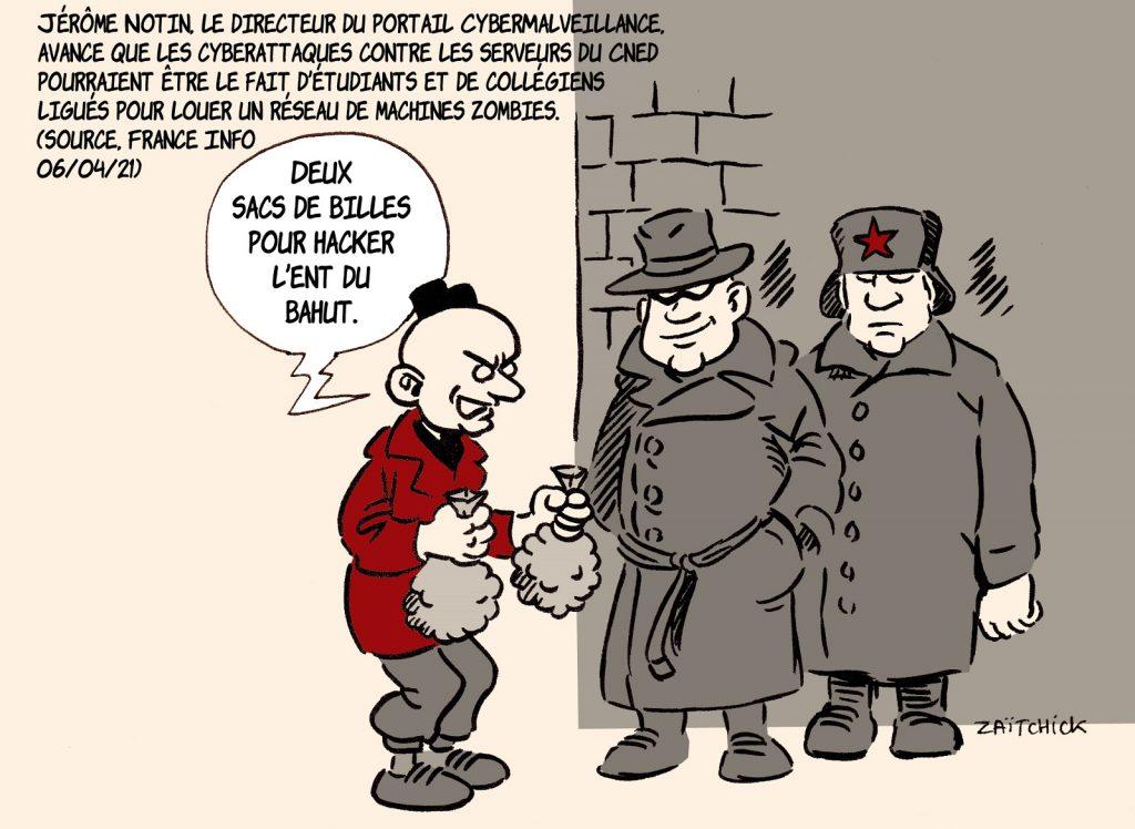 dessin presse humour Jérôme Notin accusations image drôle cyberattaque Éducation Nationale