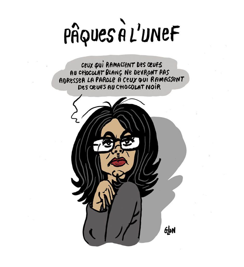 dessin presse humour Audrey Pulvar image drôle Unef Pâques chocolat noir chocolat blanc