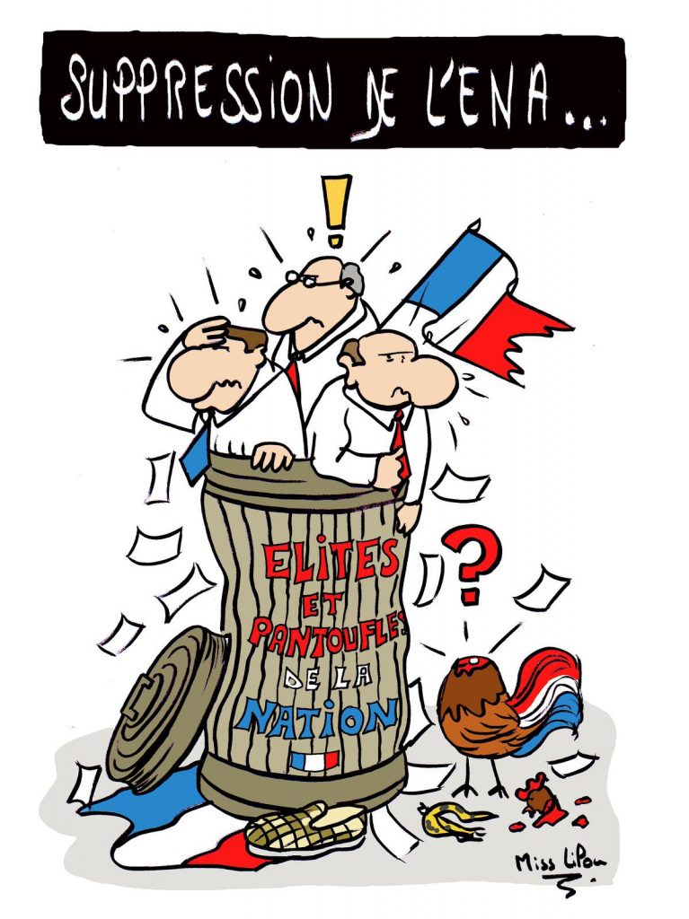 dessin presse humour Suppression ENA image drôle pantouflage