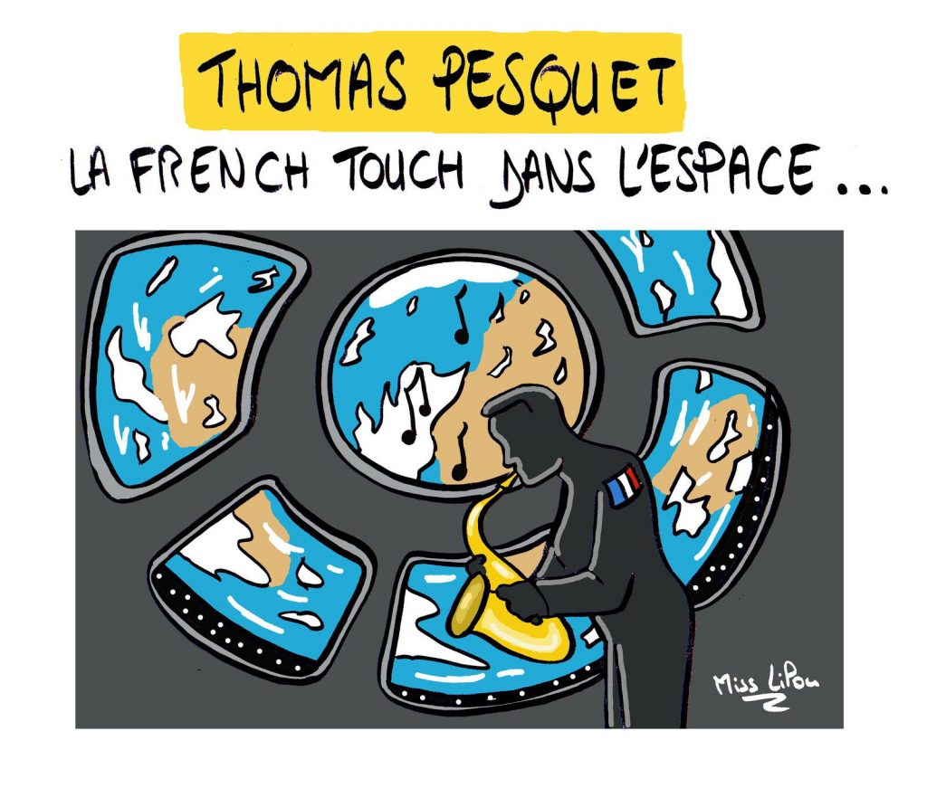 dessin presse humour french touch saxophone image drôle Thomas Pesquet mission spatiale ISS