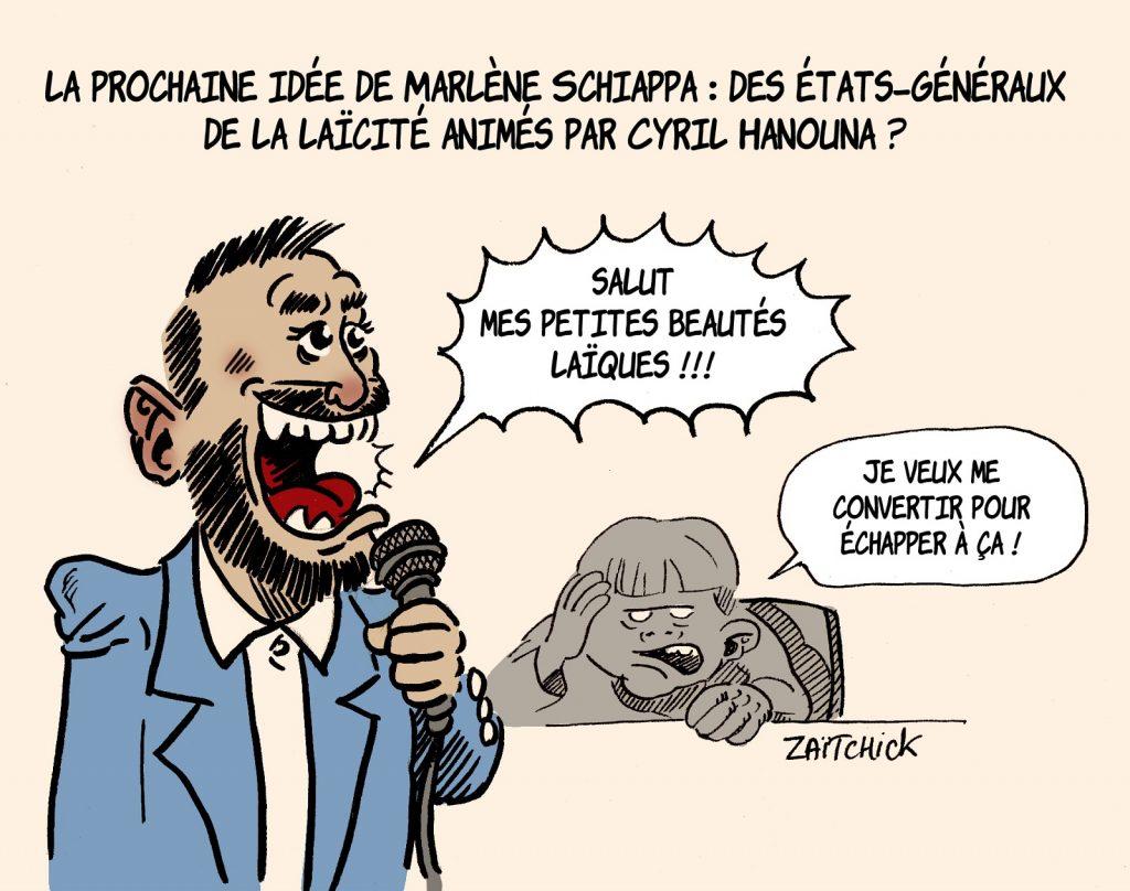 dessin presse humour Cyril Hanouna Marlène Schiappa image drôle États-Généraux de la laïcité