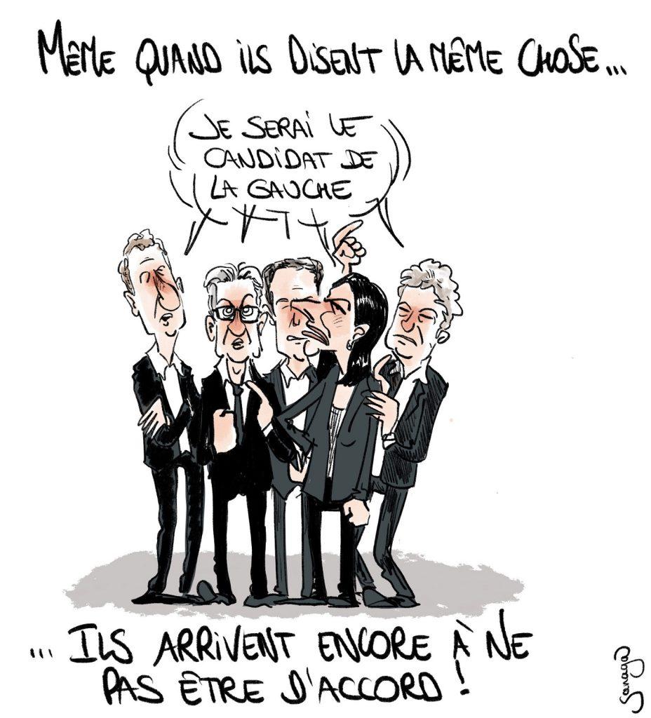 dessin presse humour élection présidentielle 2022 image drôle candidature gauche