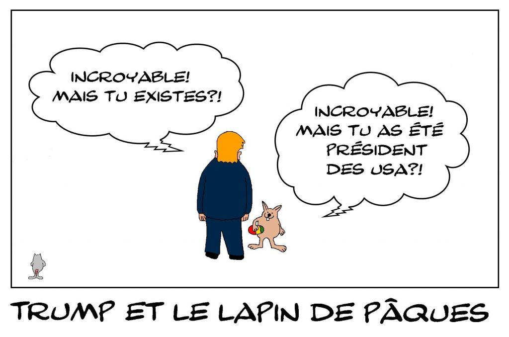 dessins humour Donald Trump président image drôle lapin de Pâques