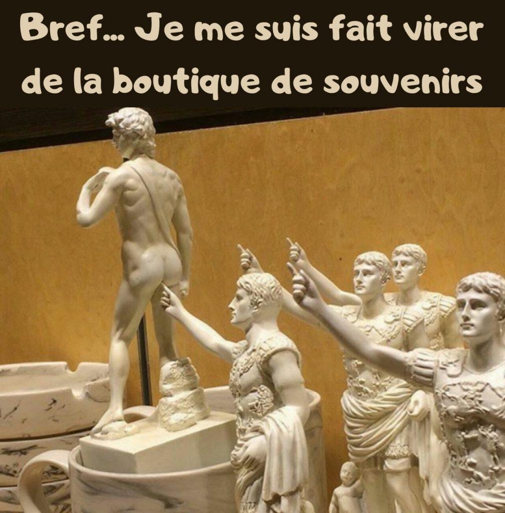 dessin humour musée boutique souvenirs image drôle statuettes doigt cul