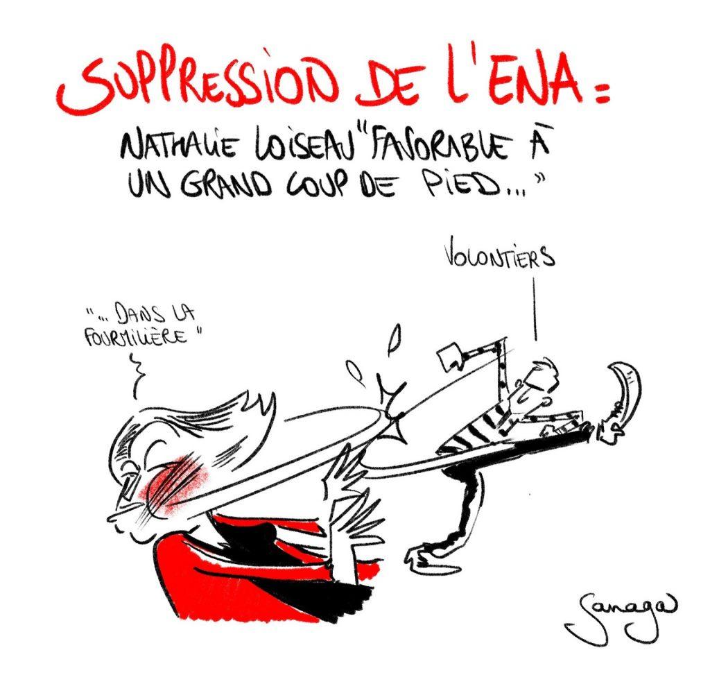 dessin presse humour suppression ENA image drôle Nathalie Loiseau fourmilière