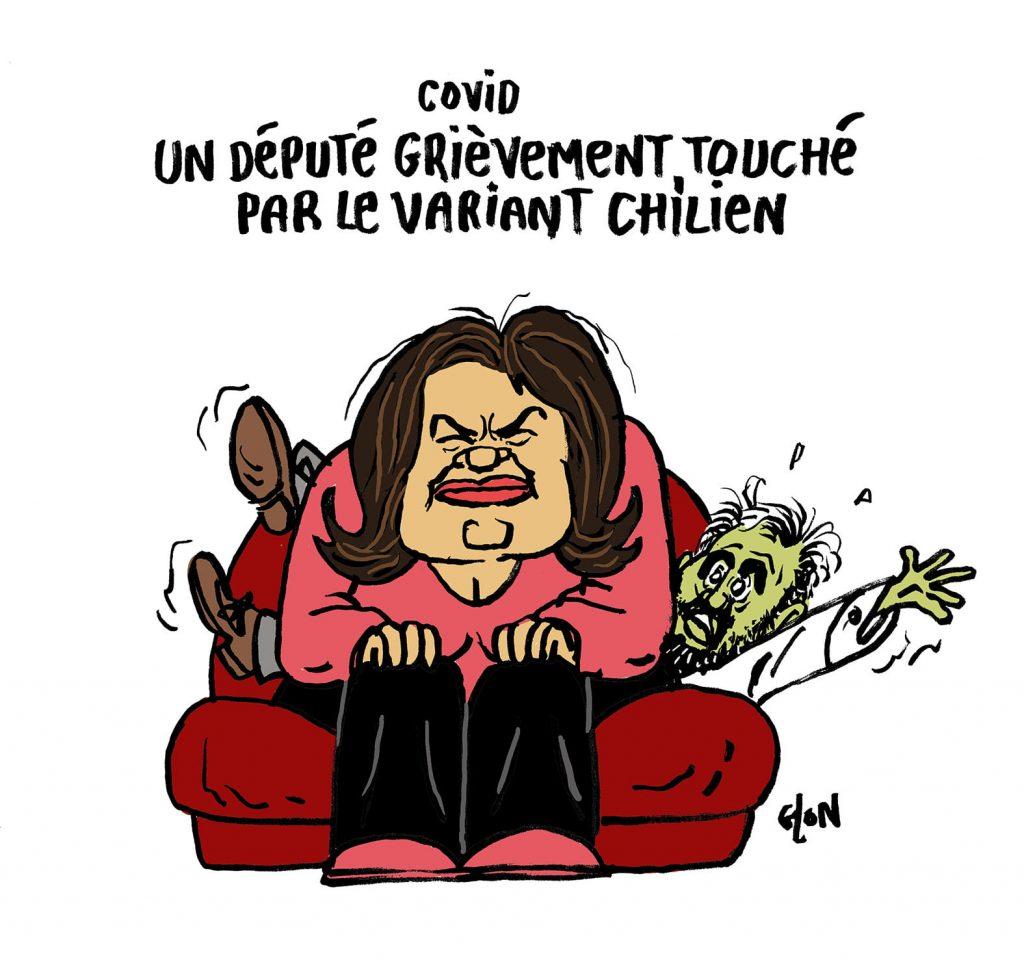 dessin presse humour coronavirus variant chilien image drôle Raquel Garrido Alexis Corbière