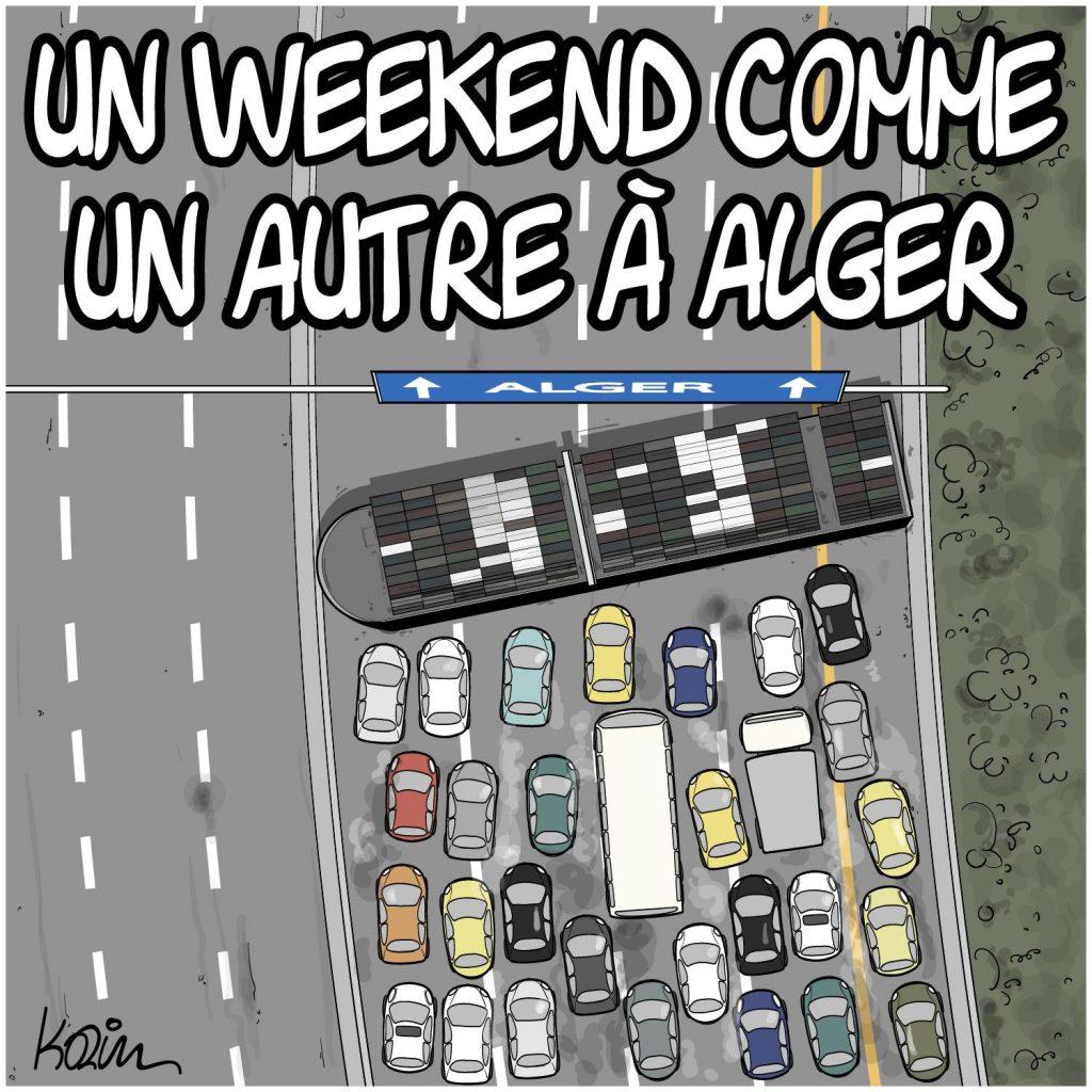 dessin presse humour Algérie Alger image drôle weekend embouteillage canal de Suez Evergreen