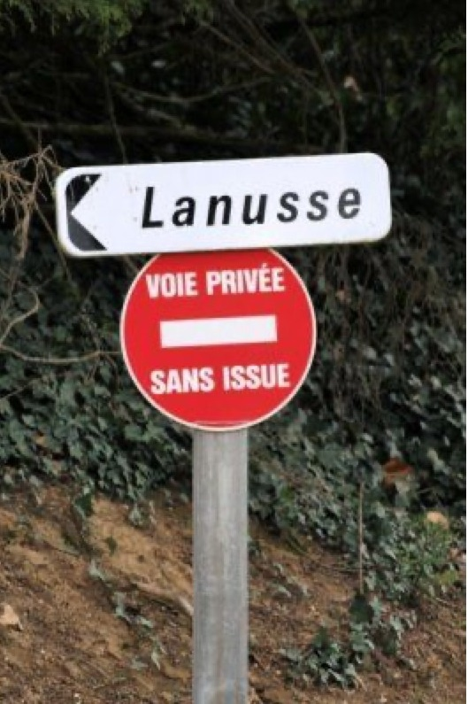 dessin humour panneau signalisation image drôle anus voie privée sans issue
