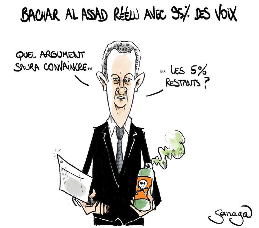 dessin presse humour Syrie Bachar al-Assad image drôle réélection présidentielle