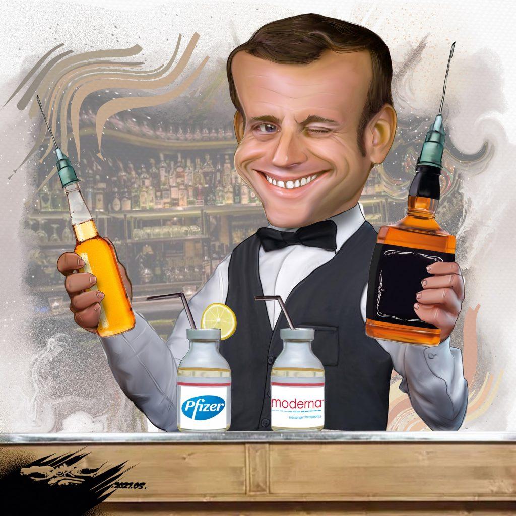 dessin presse humour Emmanuel Macron image drôle coronavirus vaccination cocktail Pfizer Moderna