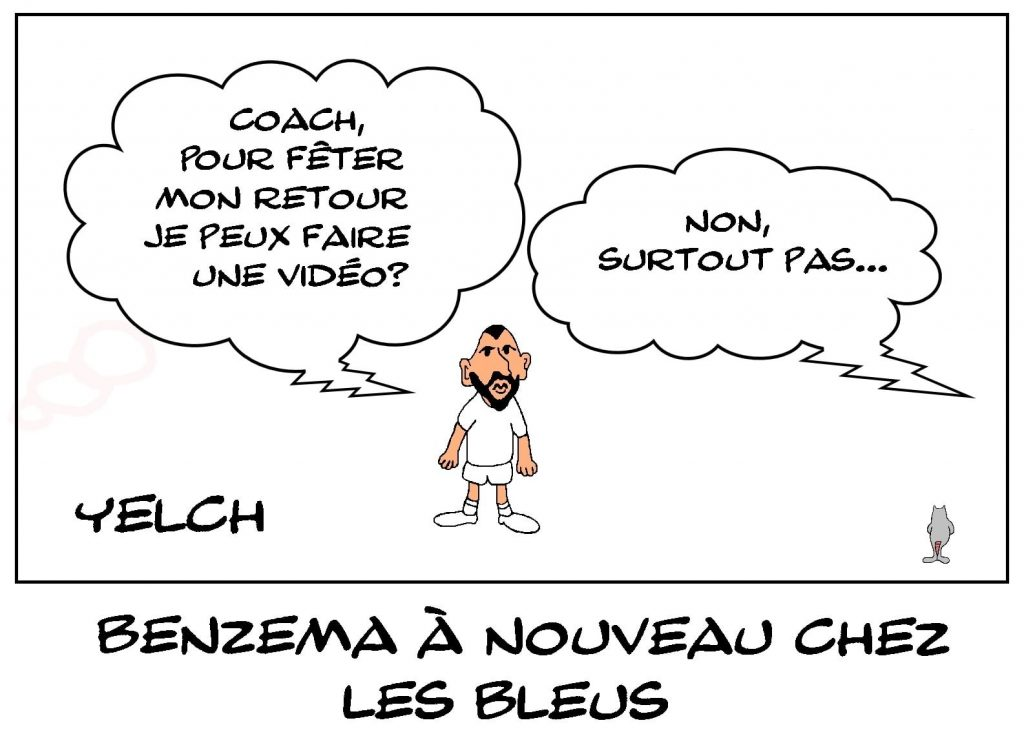 dessins humour football équipe France image drôle Karim Benzema
