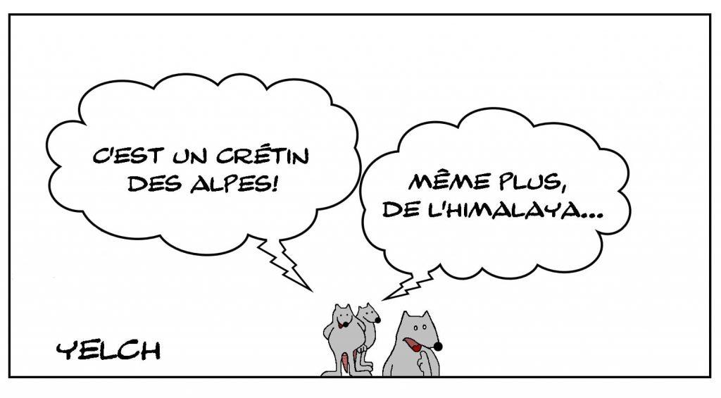 dessins humour expressions françaises image drôle crétin des Alpes