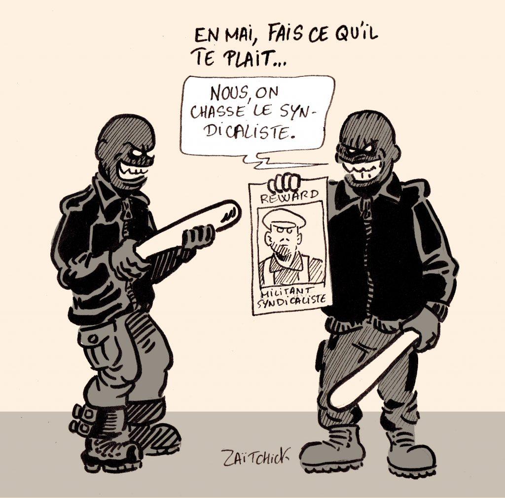 dessin presse humour 1er mai fête travail image drôle violences syndicat manifestation black bloc