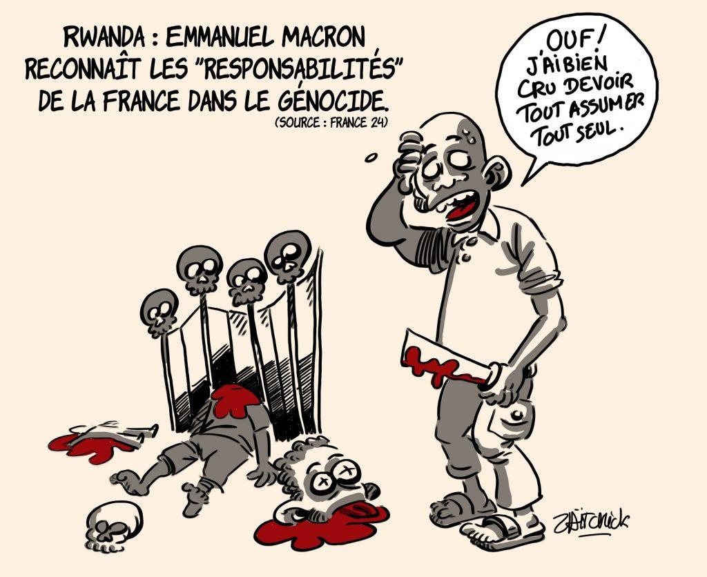 dessin presse humour génocide Rwanda image drôle Emmanuel Macron responsabilités