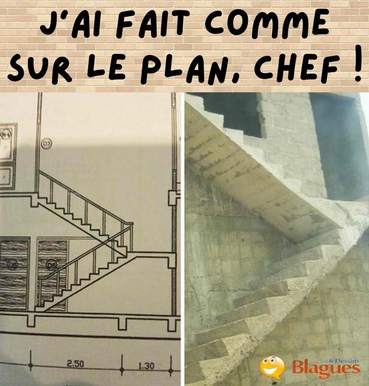 dessin humour construction escalier plan