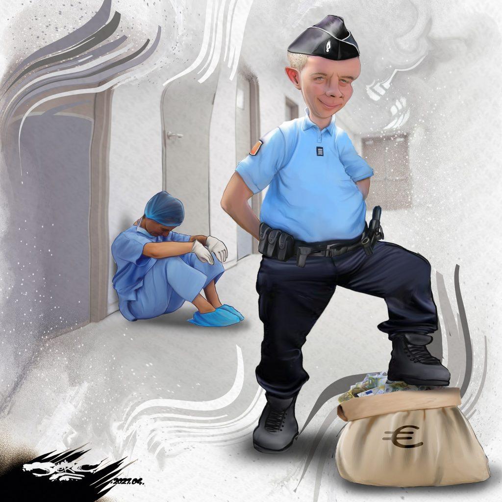dessin presse humour dotation budget image drôle police hôpital