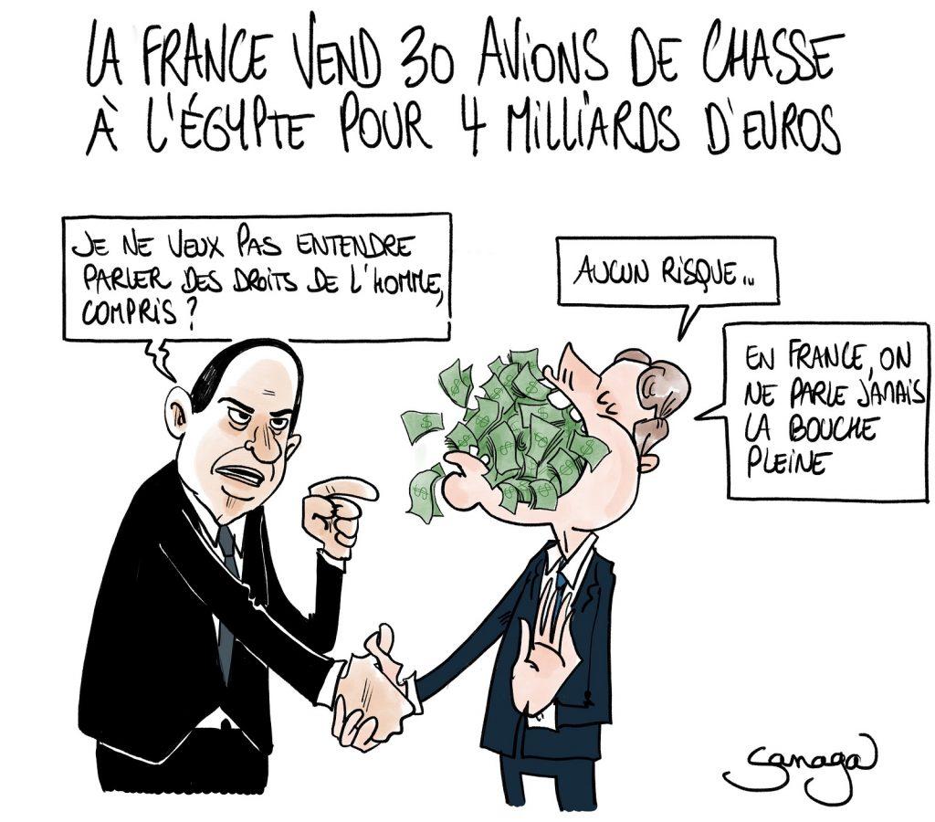 dessin presse humour Abdel Fattah al-Sissi Égypte image drôle vente Rafale Emmanuel Macron