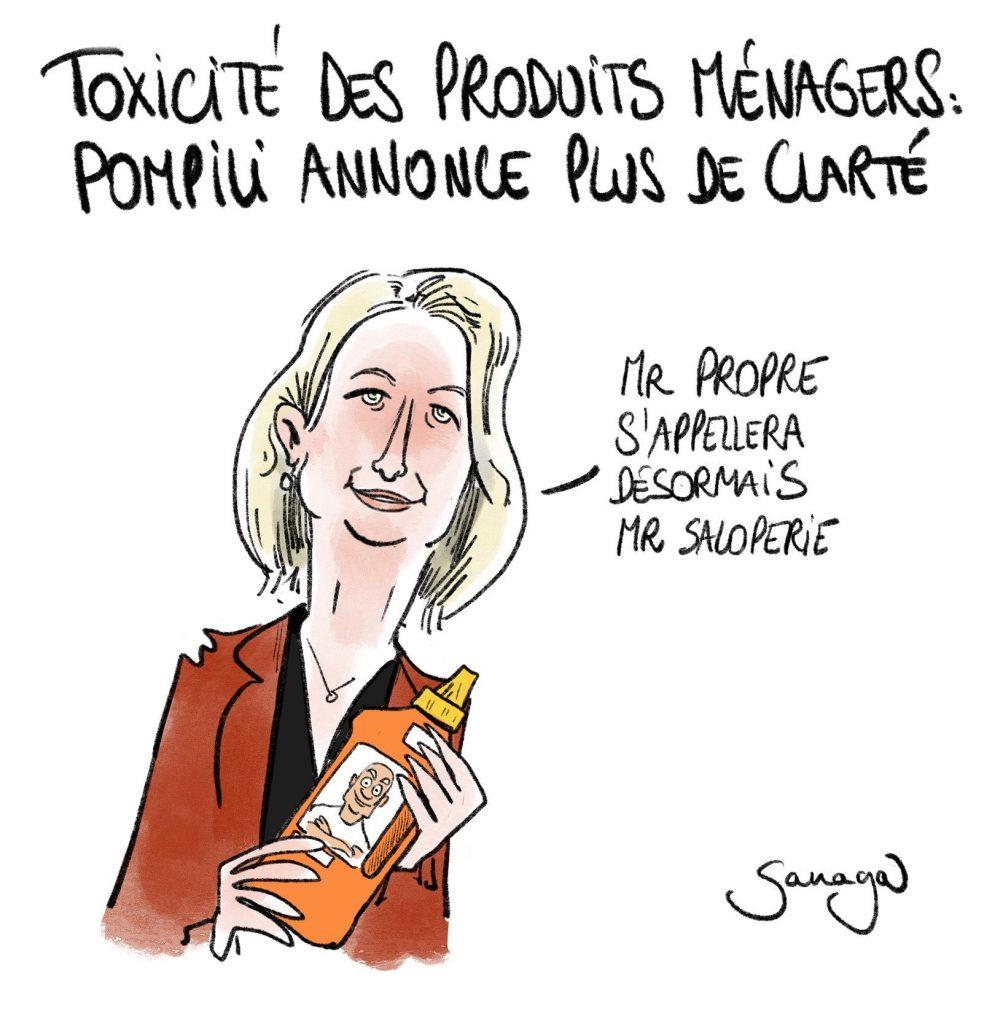 dessin presse humour Barbara Pompili toxi-score image drôle toxicité produits ménagers