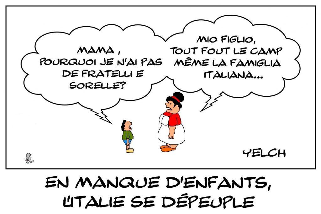 dessins humour Italie famille image drôle enfants dépeuplement