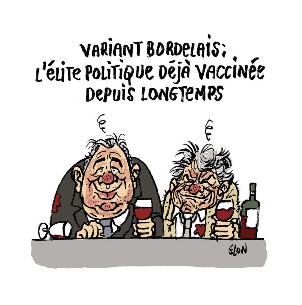 dessin presse humour coronavirus variant alcool image drôle Jean-Louis Borloo Gérard Larcher