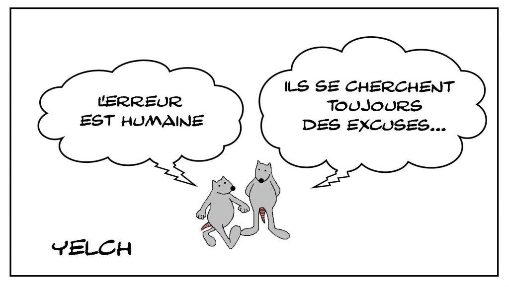 dessins humour errare humanum est image drôle humains excuses expressions