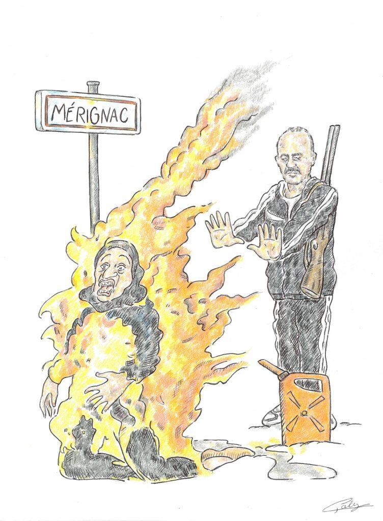 dessin presse humour meurtre Chahinez image drôle féminicide Mérignac