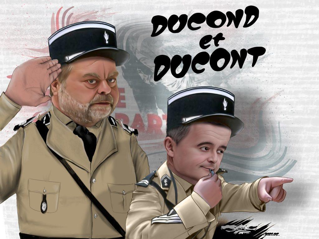 dessin presse humour Gérald Darmanin flic image drôle Éric Dupond-Moretti voyou