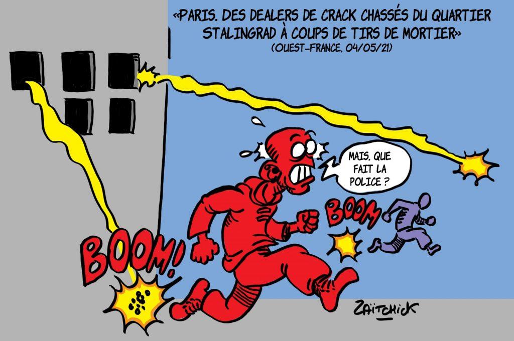 dessin presse humour Insécurité Paris Stalingrad image drôle dealers crack tirs mortiers