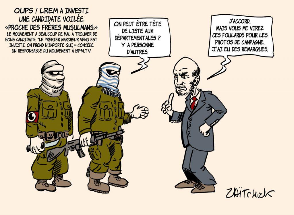 dessin presse humour LREM candidature islamisme image drôle Stanislas Guerini investiture élections régionales