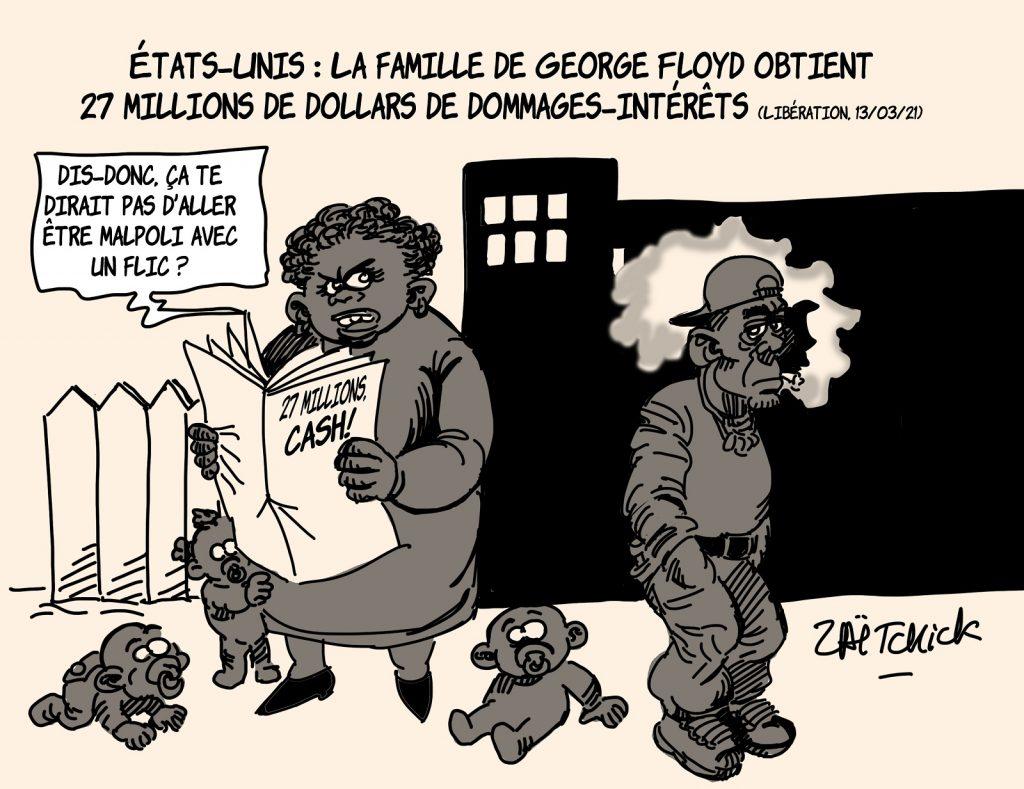 dessin presse humour États-Unis George Floyd image drôle dommages-intérêts