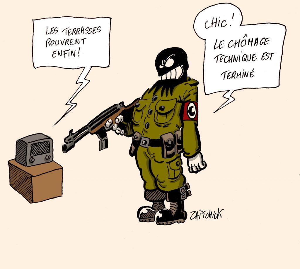dessin presse humour coronavirus déconfinement image drôle réouverture terrasses terrorisme