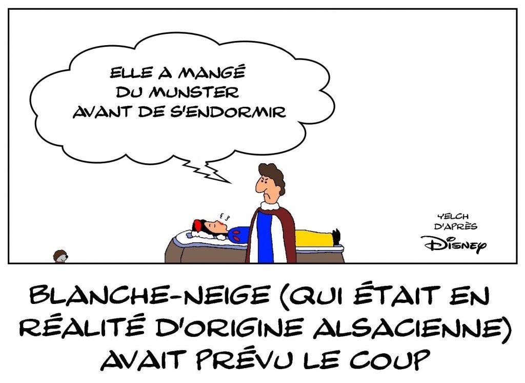 dessins humour agression sexuelle image drôle wokisme Blanche-Neige baiser volé