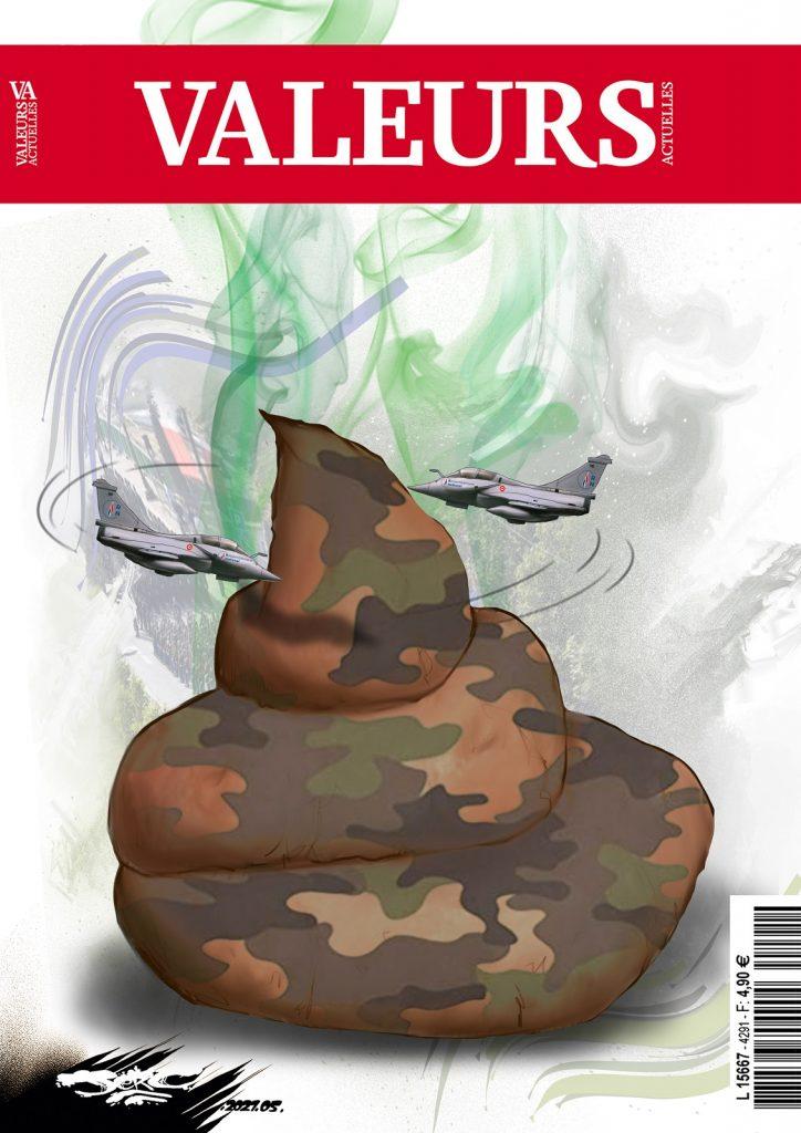 dessin presse humour Rassemblement National Valeurs Actuelles image drôle tribune militaire
