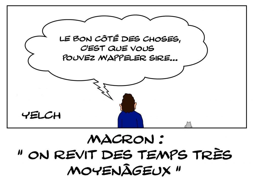 dessins humour Emmanuel Macron image drôle Moyen Âge
