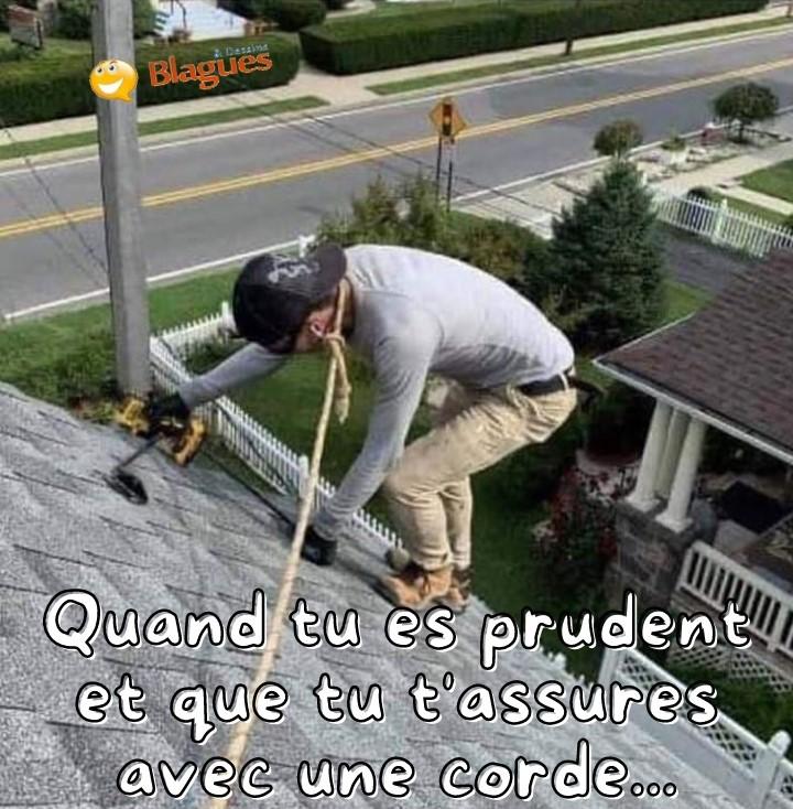 dessin humour toiture couvreur sécurité image drôle encordement pendaison