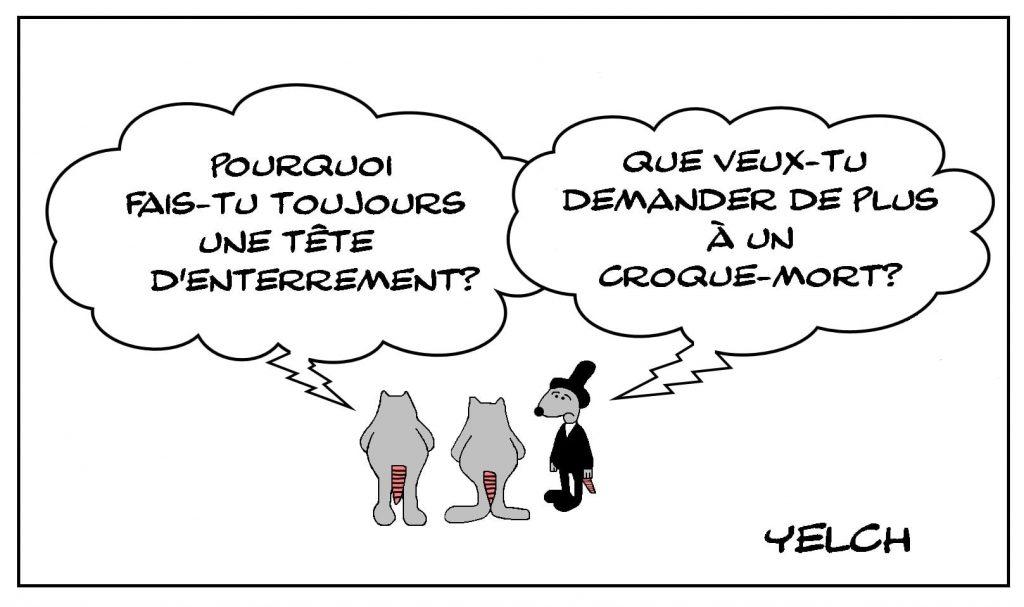 dessins humour expressions françaises image drôle tête d'enterrement