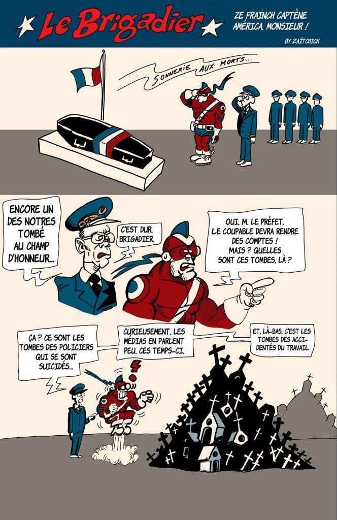 image drôle Le Brigadier dessin humour Avignon meurtre policier suicide accident travail police