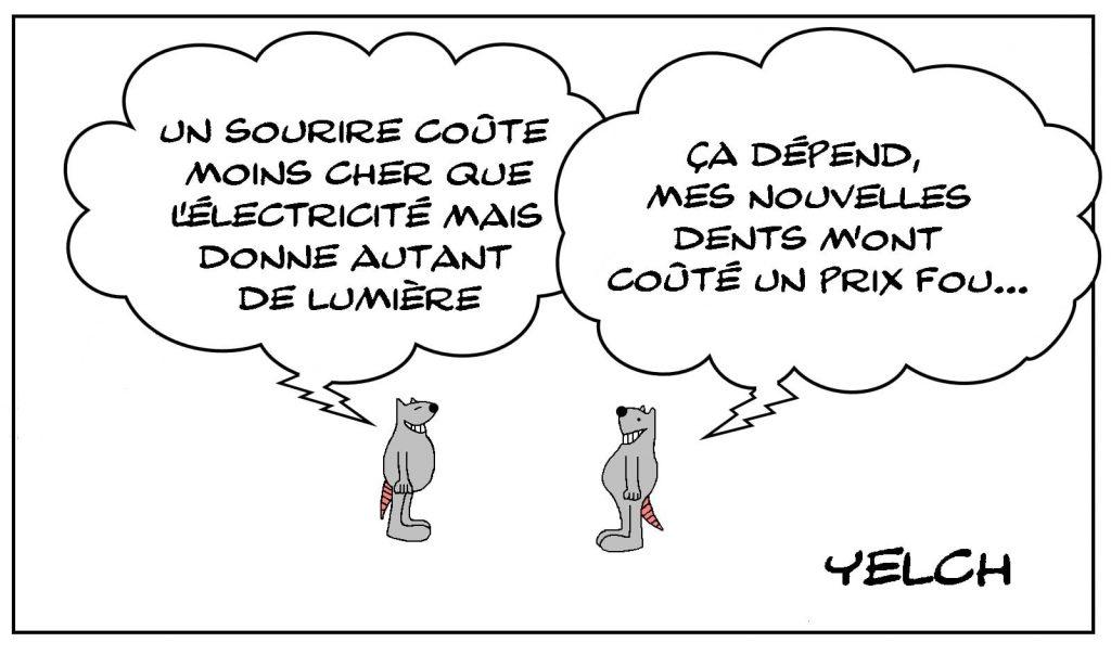 dessins humour Abbé Pierre sourire cherté électricité lumière image drôle coût dent dentiste