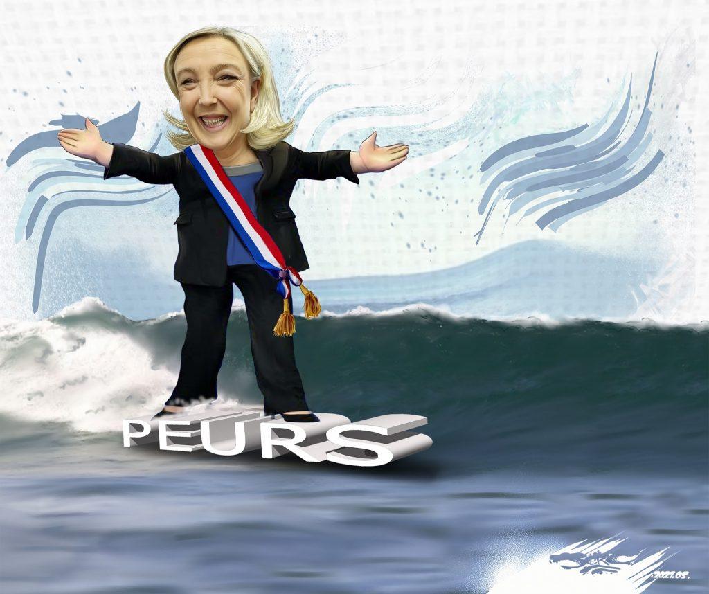 dessin presse humour Marine Le Pen Rassemblement National image drôle élection présidentielle 2022