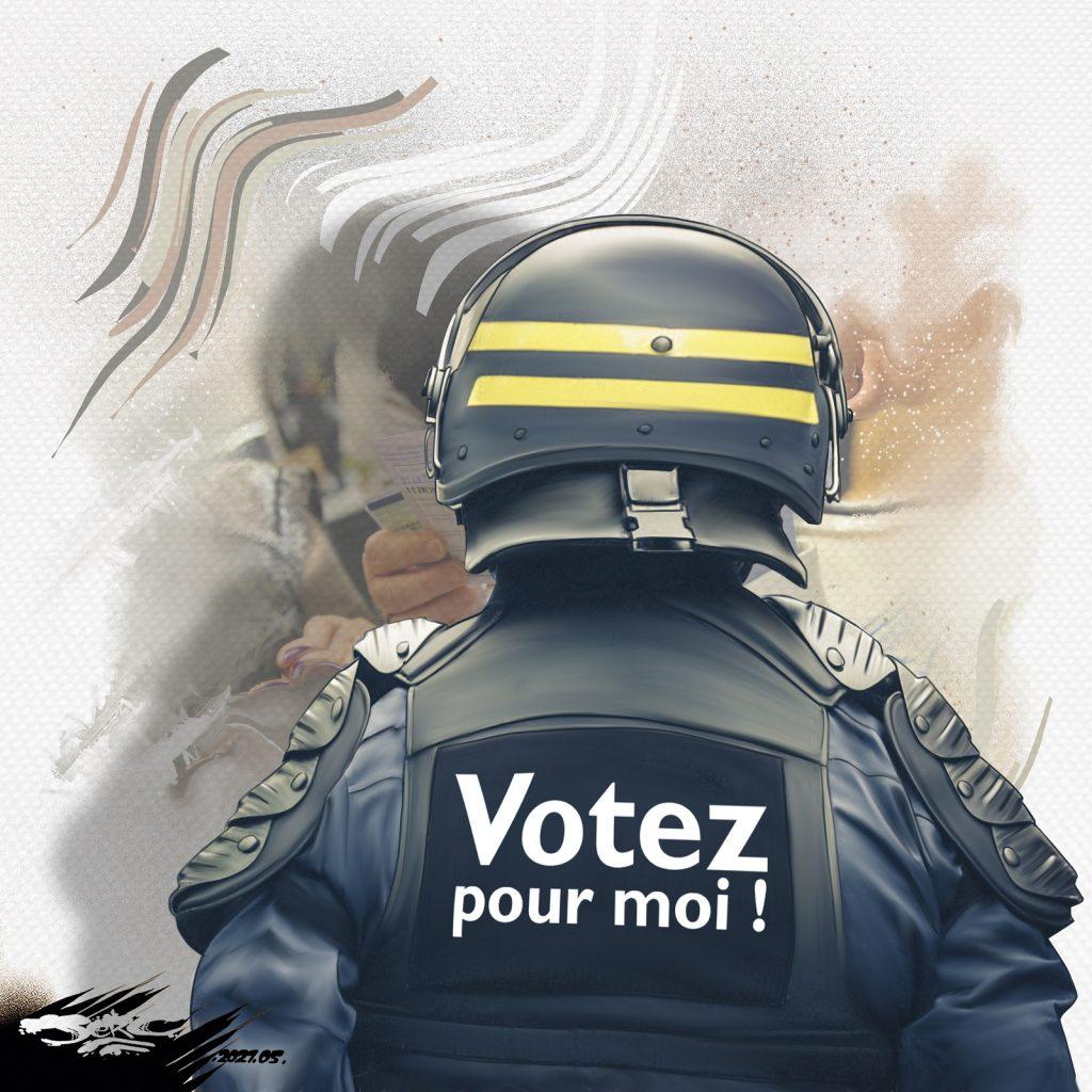 dessin presse humour campagne électorale image drôle police Marine Le Pen