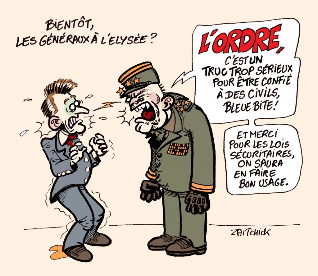 dessin presse humour tribune généraux Valeurs Actuelles image drôle armée militaires ordre Emmanuel Macron